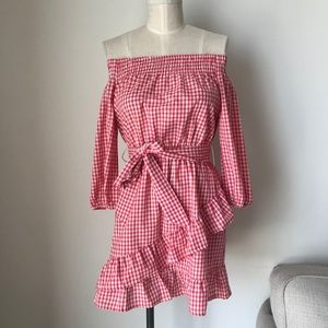 [LF] Red Gingham Ruffle Dress